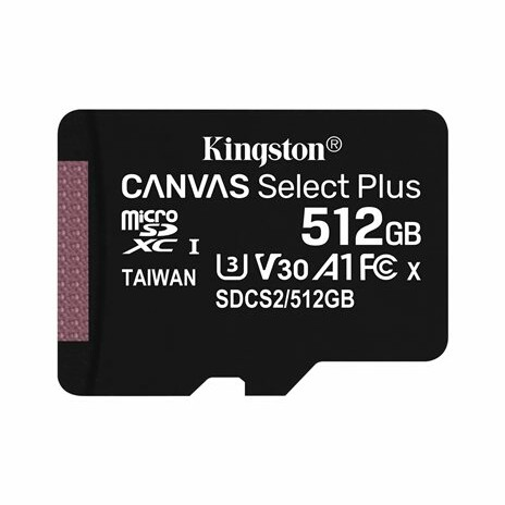 Kingston Canvas Select Plus - Paměťová karta flash - 512 GB - A1 / Video Class V30 / UHS Class 3 / Class10 - SDXC UHS-I