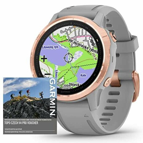 Garmin fenix6S PRO Sapphire, RoseGold/Gray Band (MAP/Music)/TOPO Czech