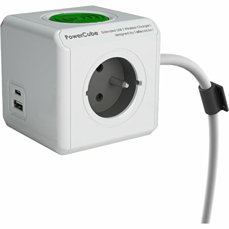 Zásuvka prodluž. PowerCube EXTENDED USB WirelessCharger A+C, White 2x USB, kabel 1,5m