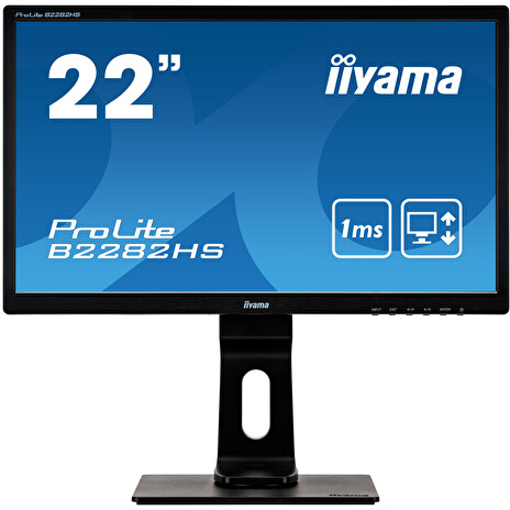 "22"" iiyama B2282HS-B5: TN, FullHD@75Hz, 250cd/m2, 1ms, VGA, HDMI, DVI, height, pivot, černý"