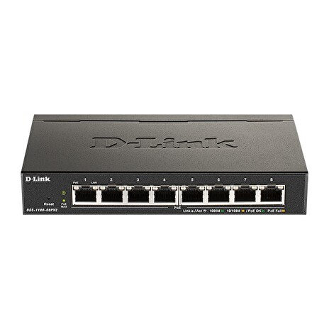D-Link DGS-1100-08PV2 8-Port PoE Gigabit Smart Managed Switch- 8-Port 1000BaseTX Auto-Negotiating 10/100/1000Mbps Switch